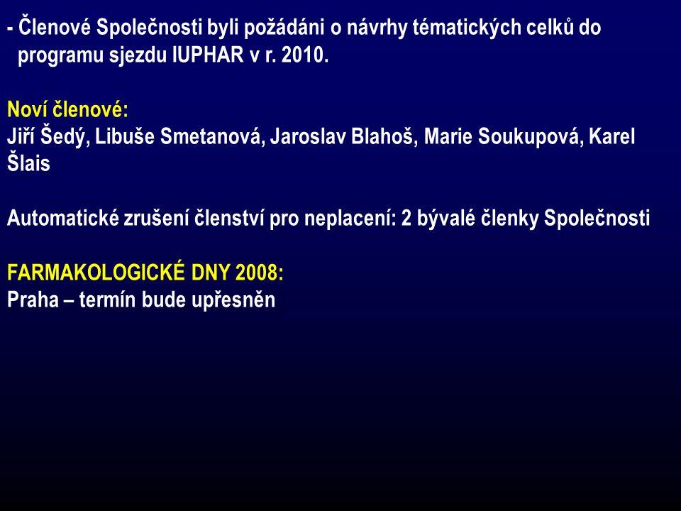 - Členové Společnosti byli požádáni o návrhy tématických celků do programu sjezdu IUPHAR v r. 2010. Noví členové: Jiří Šedý, Libuše Smetanová, Jarosla