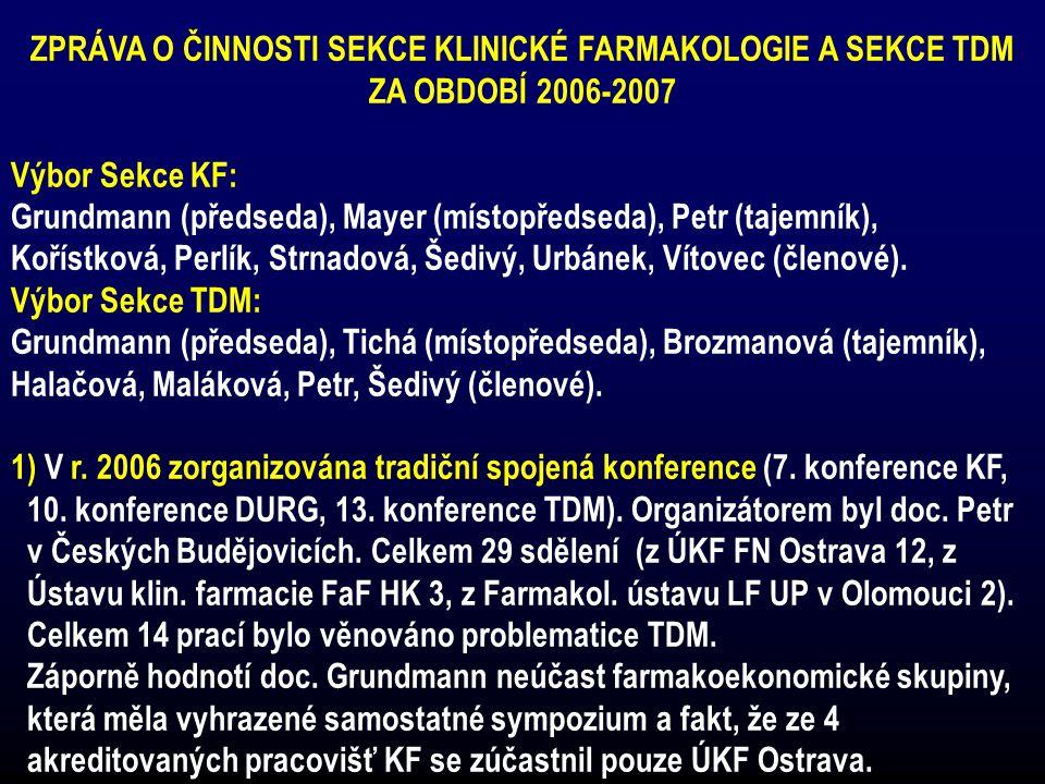 ZPRÁVA O ČINNOSTI SEKCE KLINICKÉ FARMAKOLOGIE A SEKCE TDM ZA OBDOBÍ 2006-2007 Výbor Sekce KF: Grundmann (předseda), Mayer (místopředseda), Petr (tajem