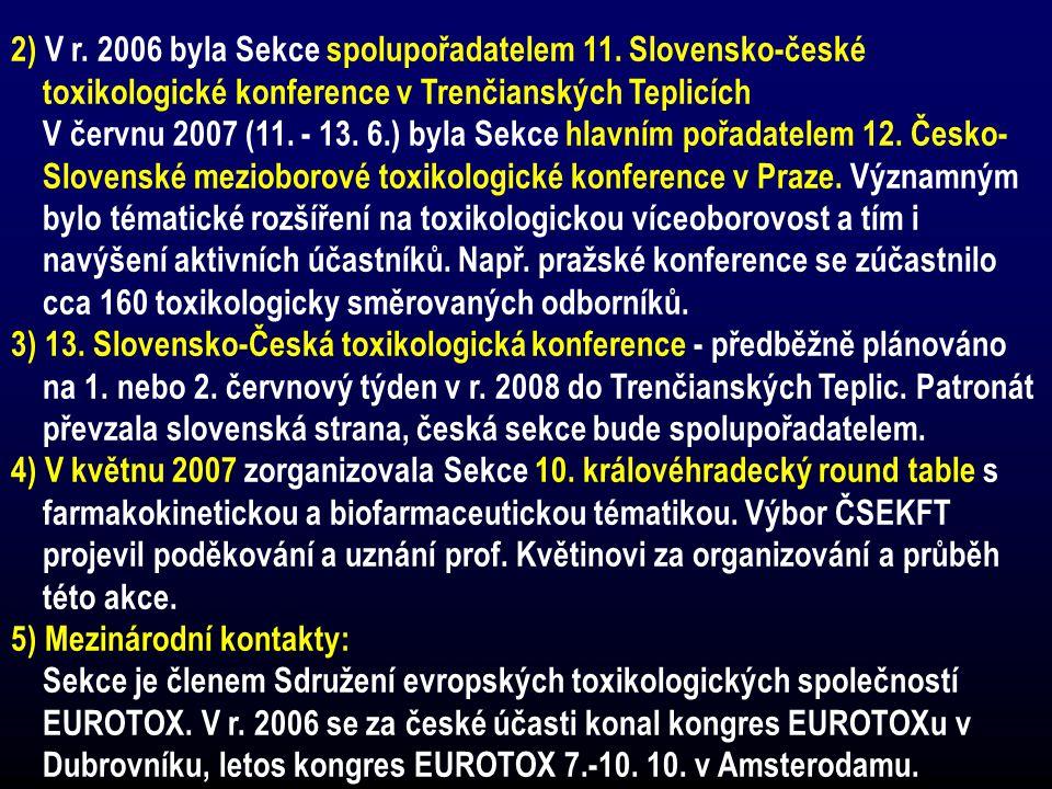 2) V r. 2006 byla Sekce spolupořadatelem 11. Slovensko-české toxikologické konference v Trenčianských Teplicích V červnu 2007 (11. - 13. 6.) byla Sekc