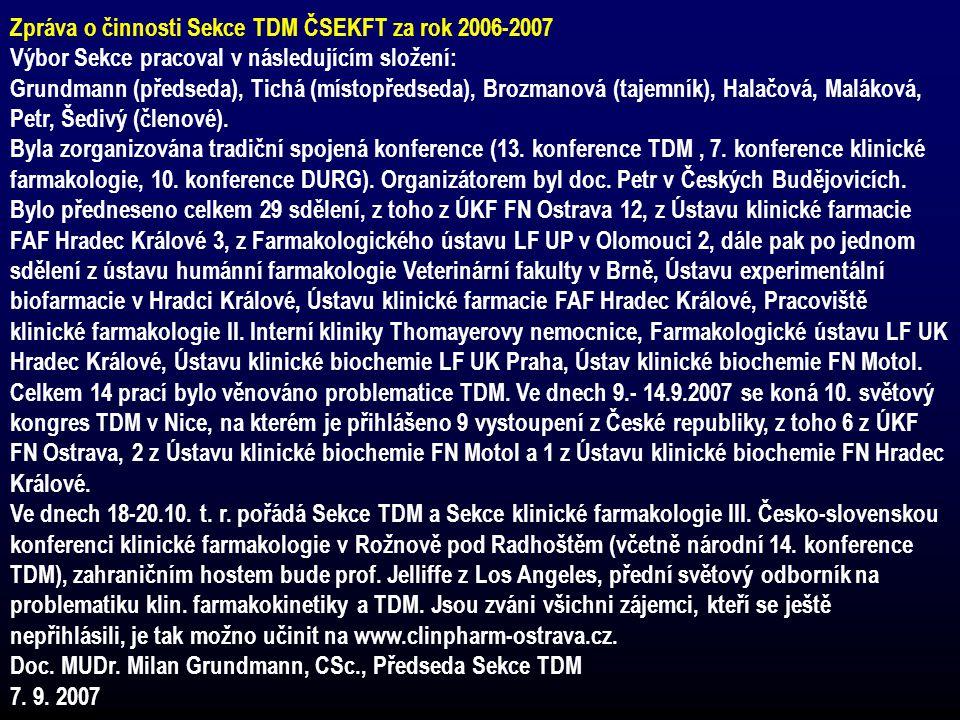 Zpráva o činnosti Sekce TDM ČSEKFT za rok 2006-2007 Výbor Sekce pracoval v následujícím složení: Grundmann (předseda), Tichá (místopředseda), Brozmano