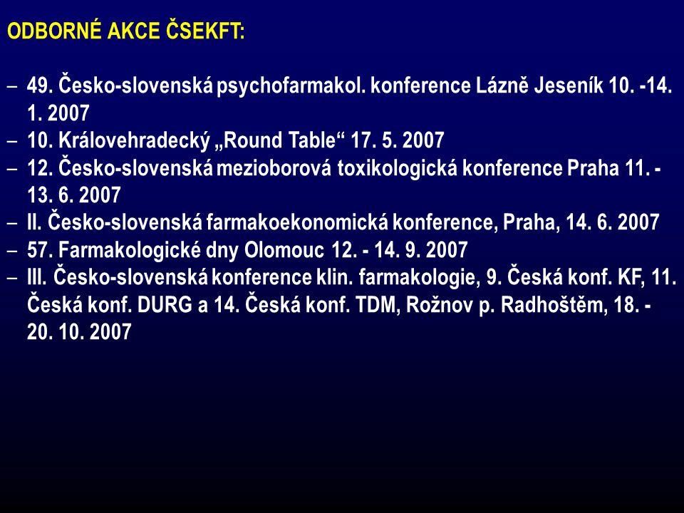 """ODBORNÉ AKCE ČSEKFT: – 49. Česko-slovenská psychofarmakol. konference Lázně Jeseník 10. -14. 1. 2007 – 10. Královehradecký """"Round Table"""" 17. 5. 2007 –"""