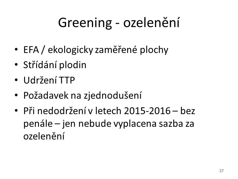 Greening - ozelenění EFA / ekologicky zaměřené plochy Střídání plodin Udržení TTP Požadavek na zjednodušení Při nedodržení v letech 2015-2016 – bez pe