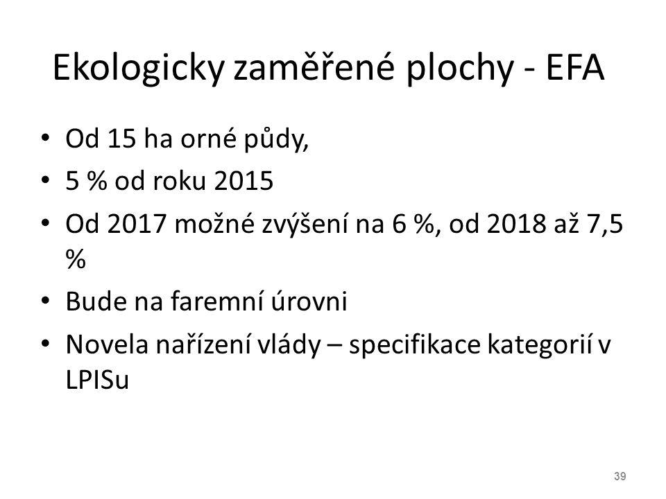 Ekologicky zaměřené plochy - EFA Od 15 ha orné půdy, 5 % od roku 2015 Od 2017 možné zvýšení na 6 %, od 2018 až 7,5 % Bude na faremní úrovni Novela nař