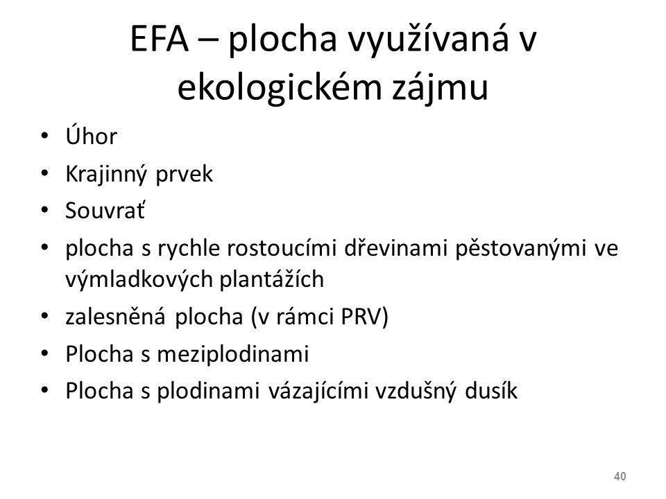 EFA – plocha využívaná v ekologickém zájmu Úhor Krajinný prvek Souvrať plocha s rychle rostoucími dřevinami pěstovanými ve výmladkových plantážích zal