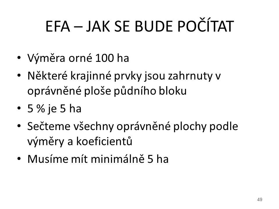 EFA – JAK SE BUDE POČÍTAT Výměra orné 100 ha Některé krajinné prvky jsou zahrnuty v oprávněné ploše půdního bloku 5 % je 5 ha Sečteme všechny oprávněn