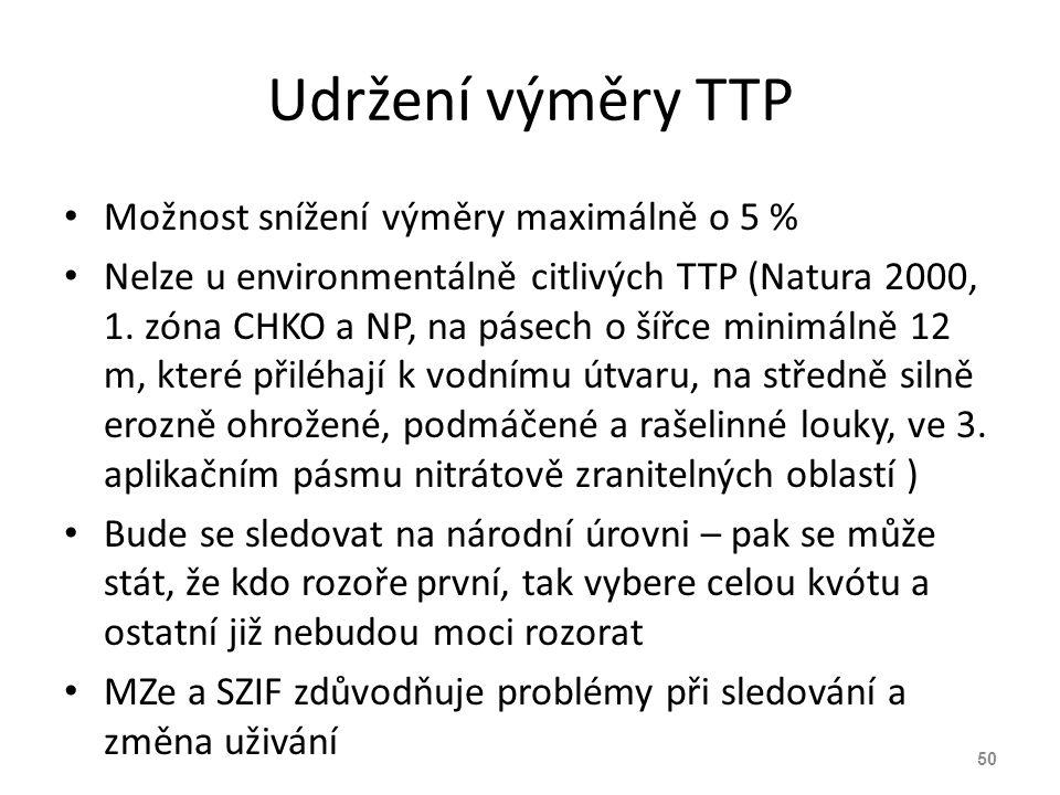 Udržení výměry TTP Možnost snížení výměry maximálně o 5 % Nelze u environmentálně citlivých TTP (Natura 2000, 1. zóna CHKO a NP, na pásech o šířce min