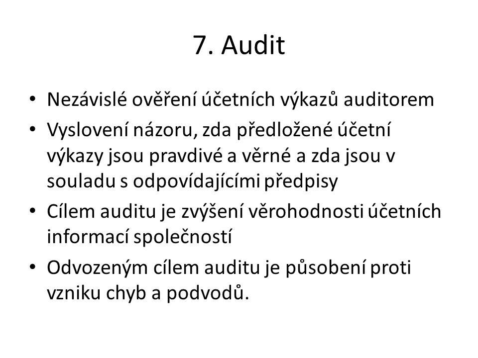 7. Audit Nezávislé ověření účetních výkazů auditorem Vyslovení názoru, zda předložené účetní výkazy jsou pravdivé a věrné a zda jsou v souladu s odpov