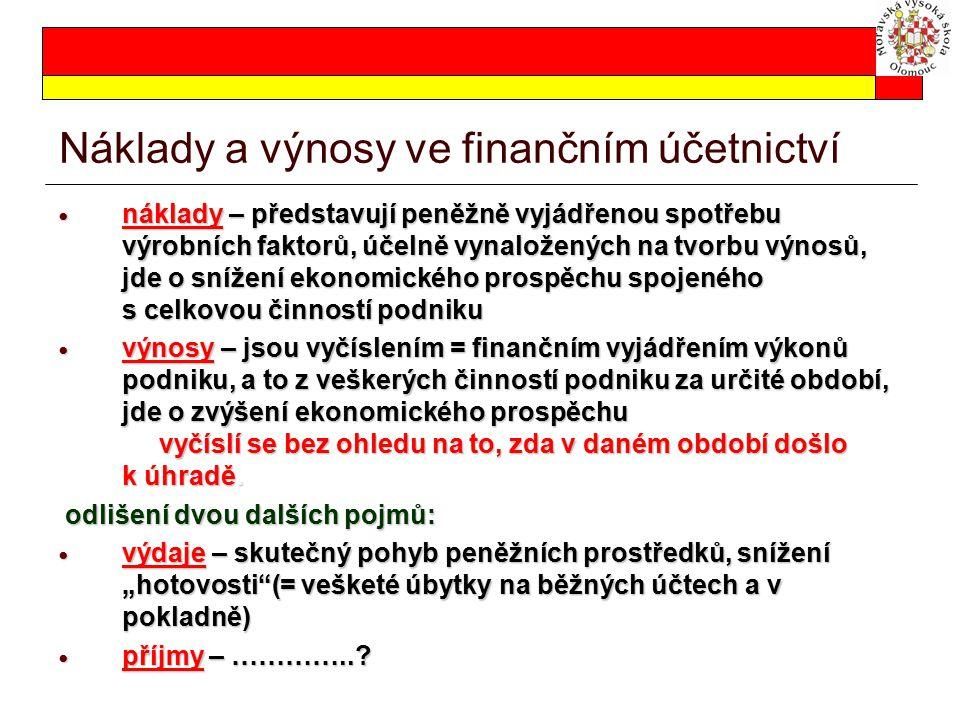 Náklady a výnosy ve finančním účetnictví náklady – představují peněžně vyjádřenou spotřebu výrobních faktorů, účelně vynaložených na tvorbu výnosů, jd