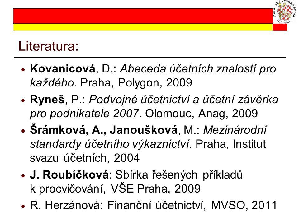 Literatura: Kovanicová, D.: Abeceda účetních znalostí pro každého. Praha, Polygon, 2009 Ryneš, P.: Podvojné účetnictví a účetní závěrka pro podnikatel