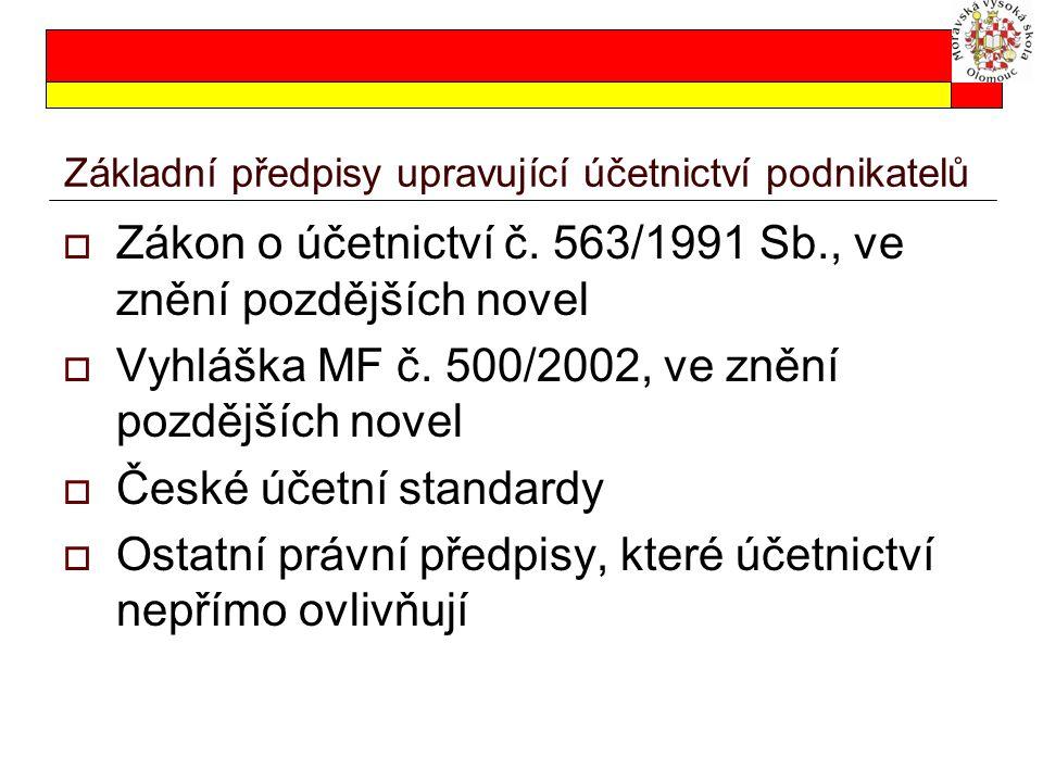 Základní předpisy upravující účetnictví podnikatelů  Zákon o účetnictví č. 563/1991 Sb., ve znění pozdějších novel  Vyhláška MF č. 500/2002, ve zněn