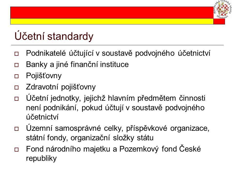 Účetní standardy  Podnikatelé účtující v soustavě podvojného účetnictví  Banky a jiné finanční instituce  Pojišťovny  Zdravotní pojišťovny  Účetn