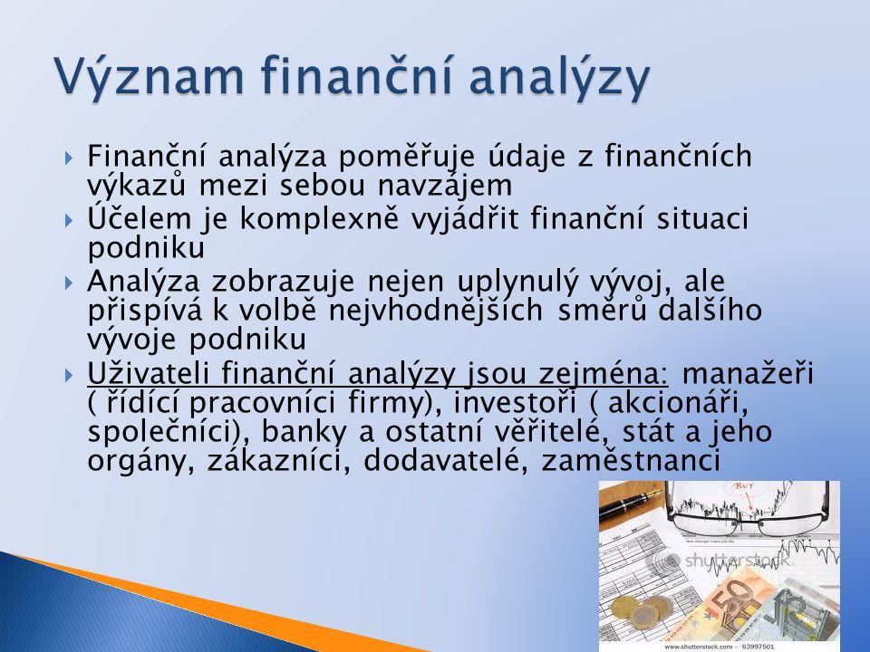  Finanční analýza poměřuje údaje z finančních výkazů mezi sebou navzájem  Účelem je komplexně vyjádřit finanční situaci podniku  Analýza zobrazuje