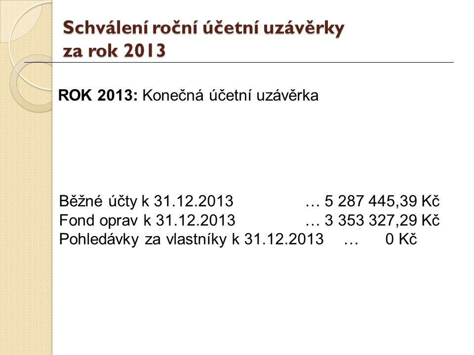 Schválení roční účetní uzávěrky za rok 2013 ROK 2013: Konečná účetní uzávěrka Běžné účty k 31.12.2013 … 5 287 445,39 Kč Fond oprav k 31.12.2013 … 3 353 327,29 Kč Pohledávky za vlastníky k 31.12.2013… 0 Kč