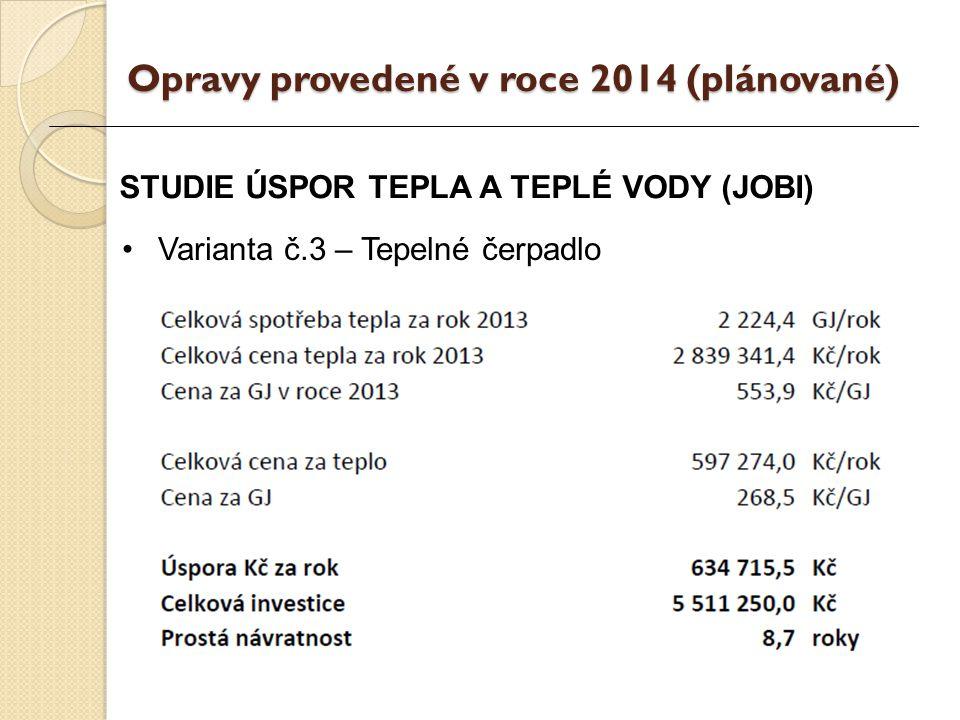 STUDIE ÚSPOR TEPLA A TEPLÉ VODY (JOBI) Varianta č.3 – Tepelné čerpadlo Opravy provedené v roce 2014 (plánované)
