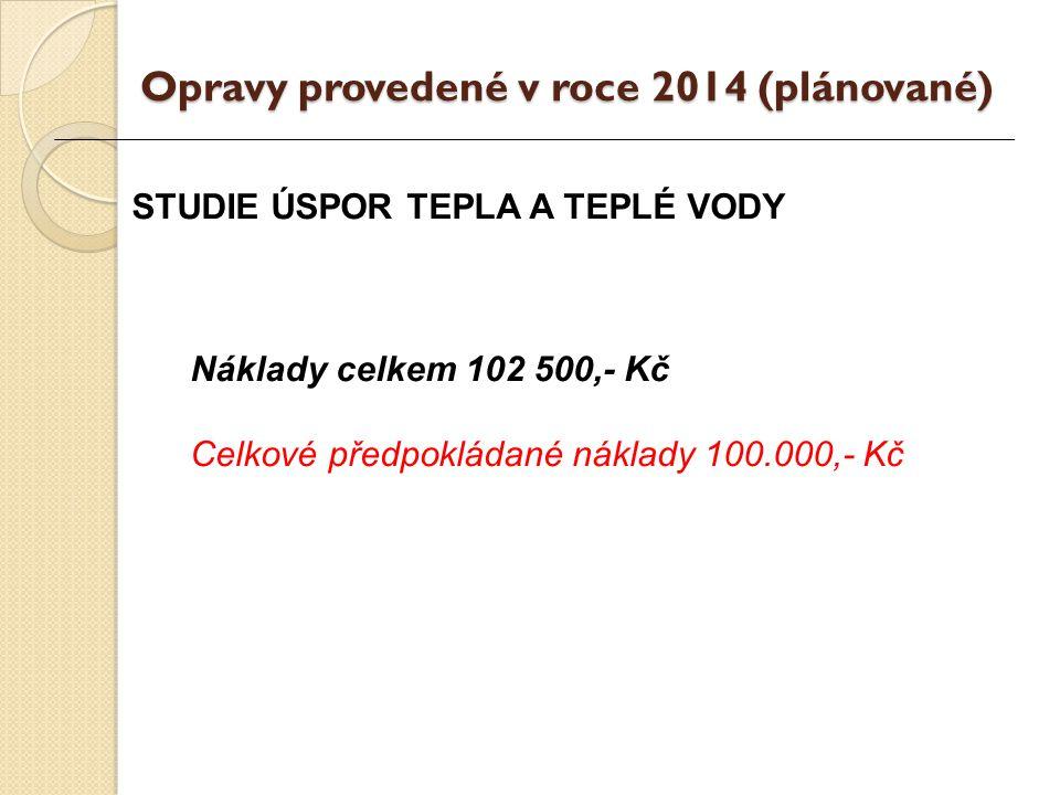 STUDIE ÚSPOR TEPLA A TEPLÉ VODY Náklady celkem 102 500,- Kč Celkové předpokládané náklady 100.000,- Kč Opravy provedené v roce 2014 (plánované)