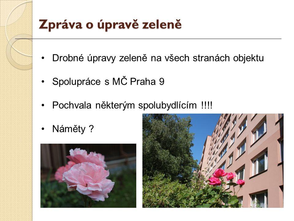 Drobné úpravy zeleně na všech stranách objektu Spolupráce s MČ Praha 9 Pochvala některým spolubydlícím !!!.
