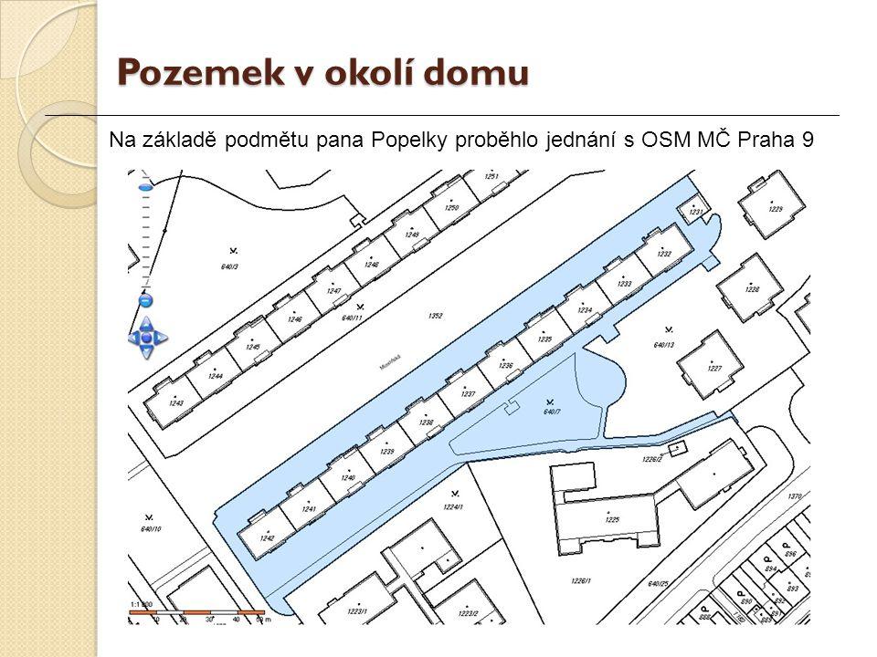 Na základě podmětu pana Popelky proběhlo jednání s OSM MČ Praha 9 Pozemek v okolí domu