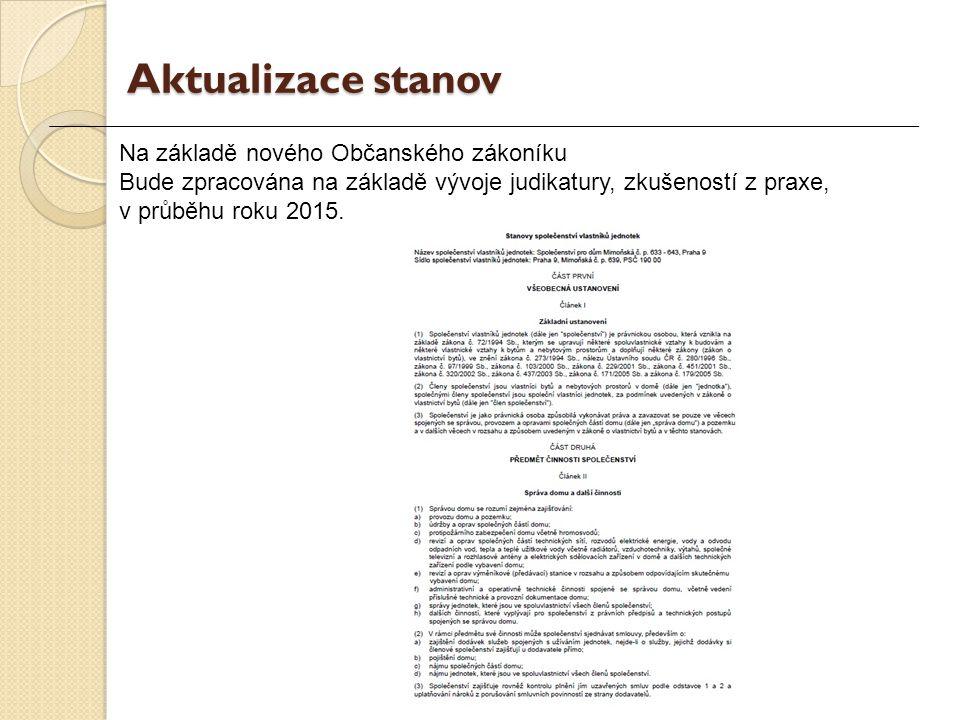 Na základě nového Občanského zákoníku Bude zpracována na základě vývoje judikatury, zkušeností z praxe, v průběhu roku 2015.