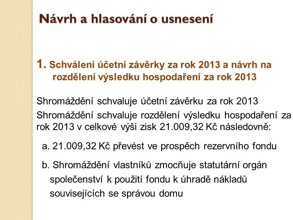 1. Schválení účetní závěrky za rok 2013 a návrh na rozdělení výsledku hospodaření za rok 2013 Shromáždění schvaluje účetní závěrku za rok 2013 Shromáž