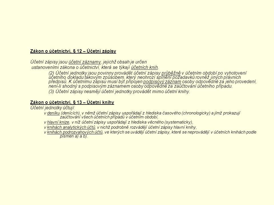 Zákon o účetnictví, § 12 – Účetní zápisy Účetní zápisy jsou účetní záznamy, jejichž obsah je určen ustanoveními zákona o účetnictví, která se týkají ú