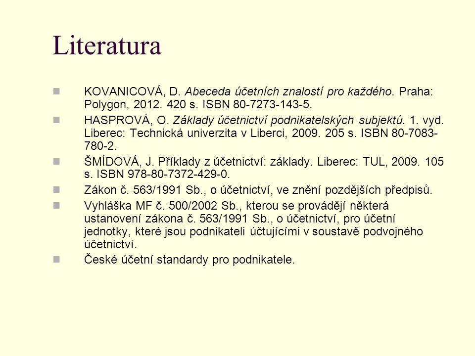 Literatura KOVANICOVÁ, D. Abeceda účetních znalostí pro každého. Praha: Polygon, 2012. 420 s. ISBN 80-7273-143-5. HASPROVÁ, O. Základy účetnictví podn