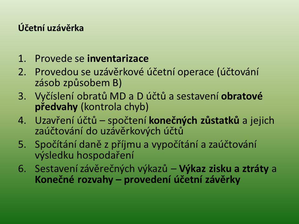 Účetní uzávěrka 1.Provede se inventarizace 2.Provedou se uzávěrkové účetní operace (účtování zásob způsobem B) 3.Vyčíslení obratů MD a D účtů a sestav