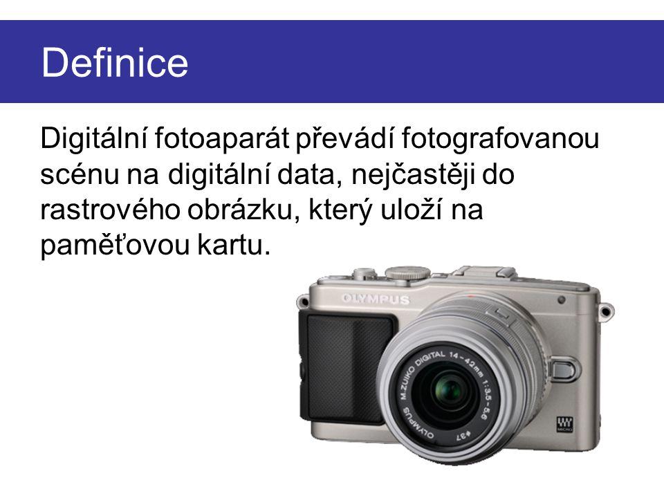 Definice Digitální fotoaparát převádí fotografovanou scénu na digitální data, nejčastěji do rastrového obrázku, který uloží na paměťovou kartu.