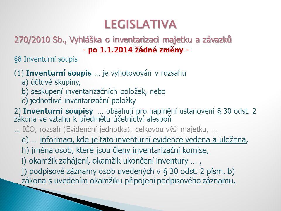 LEGISLATIVA 270/2010 Sb., Vyhláška o inventarizaci majetku a závazků - po 1.1.2014 žádné změny - §8 Inventurní soupis (1) Inventurní soupis … je vyhot