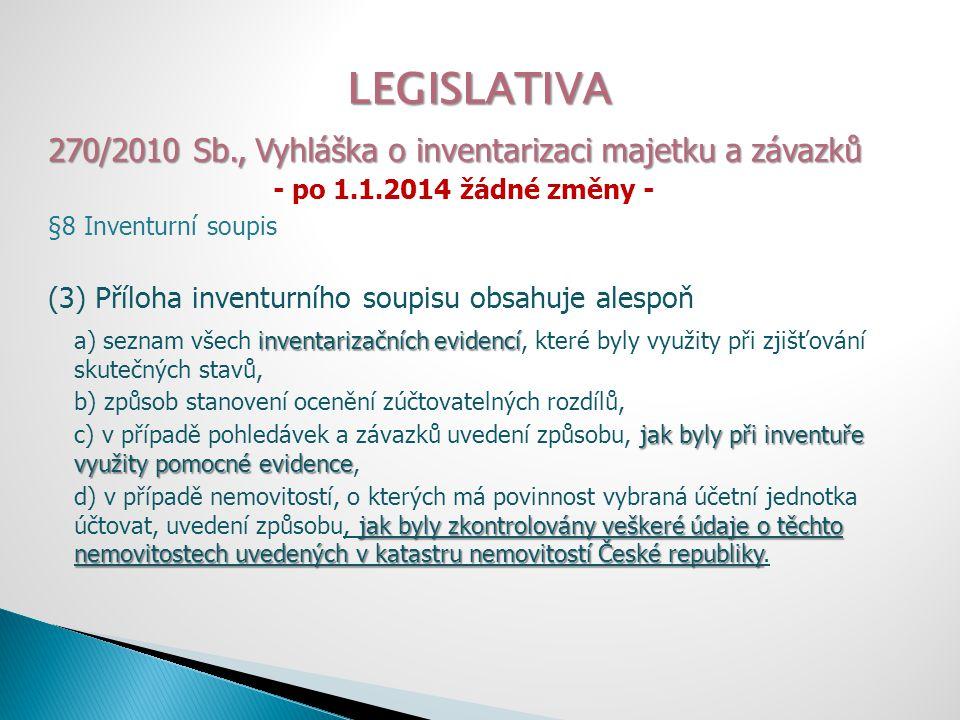 LEGISLATIVA 270/2010 Sb., Vyhláška o inventarizaci majetku a závazků - po 1.1.2014 žádné změny - §8 Inventurní soupis (3) Příloha inventurního soupisu