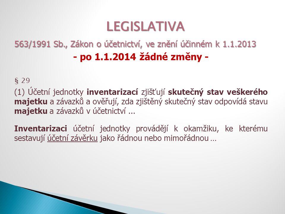 LEGISLATIVA 563/1991 Sb., Zákon o účetnictví, ve znění účinném k 1.1.2013 - po 1.1.2014 žádné změny - § 29 (3) Účetní jednotky jsou povinny prokázat provedení inventarizace u veškerého majetku a závazků po dobu 5 let po jejím provedení.