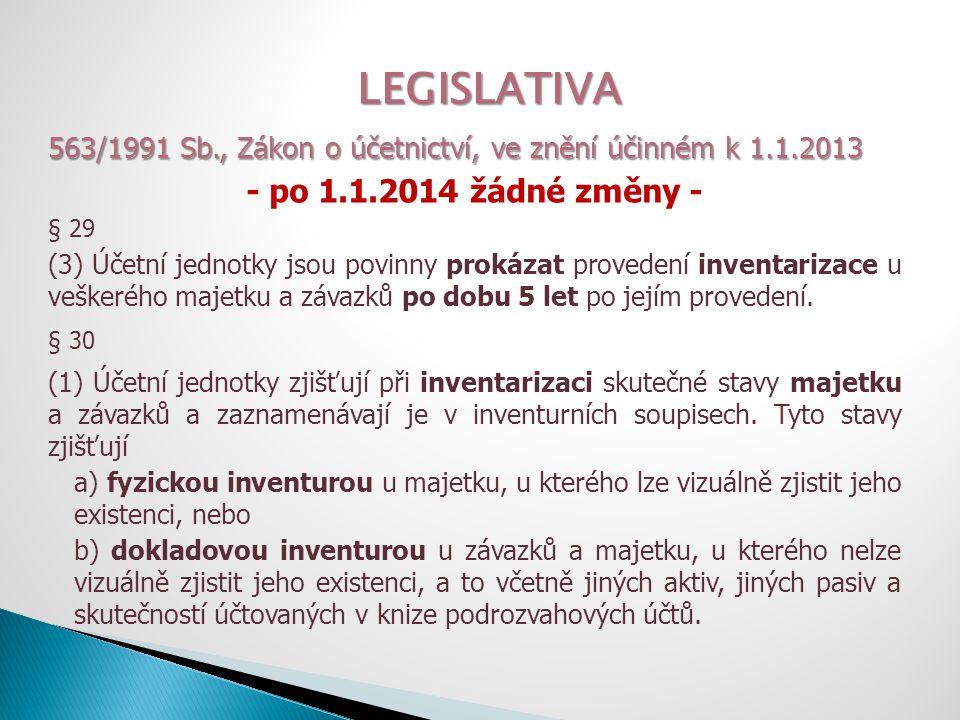 LEGISLATIVA 563/1991 Sb., Zákon o účetnictví, ve znění účinném k 1.1.2013 - po 1.1.2014 žádné změny - § 30 (6) Účetní jednotky při periodické inventarizaci a) mohou zahájit inventuru nejdříve čtyři měsíce před rozvahovým dnem, b) ukončí inventuru nejpozději dva měsíce po rozvahovém dni.