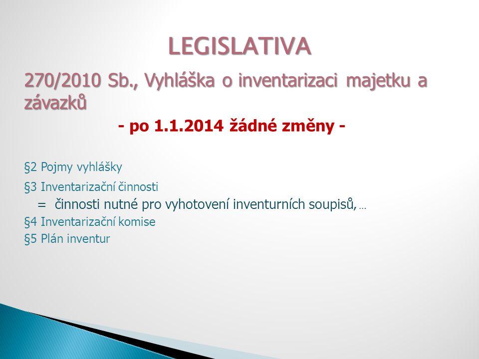 LEGISLATIVA 270/2010 Sb., Vyhláška o inventarizaci majetku a závazků - po 1.1.2014 žádné změny - §2 Pojmy vyhlášky §3 Inventarizační činnosti = činnos