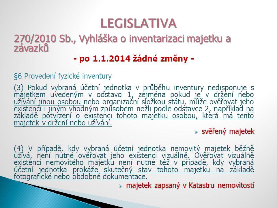LEGISLATIVA 270/2010 Sb., Vyhláška o inventarizaci majetku a závazků - po 1.1.2014 žádné změny - §6 Provedení fyzické inventury (5) Předmětem fyzické inventury je také skutečný stav majetku, který nemá vybraná účetní jednotka ve vlastnictví nebo nemá k němu příslušnost hospodaření, ale který se nachází na pozemcích, v budovách nebo jiných prostorech, které má tato vybraná účetní jednotka ve vlastnictví nebo k nim má příslušnost hospodaření, pokud mohou z této skutečnosti vznikat pro vybranou účetní jednotku práva nebo povinnosti.