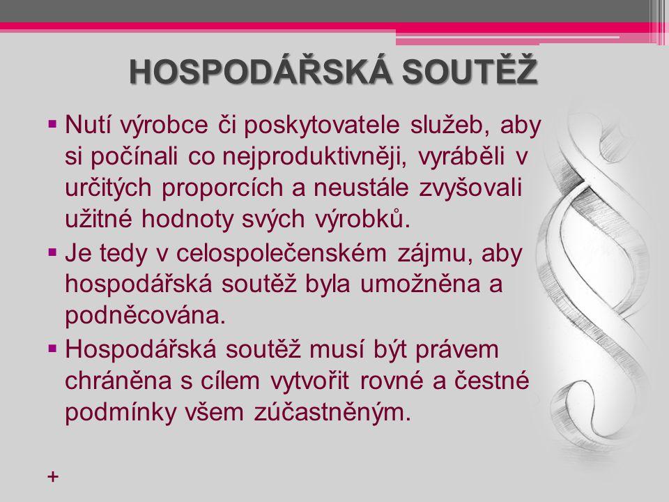 HOSPODÁŘSKÁ SOUTĚŽ  Nutí výrobce či poskytovatele služeb, aby si počínali co nejproduktivněji, vyráběli v určitých proporcích a neustále zvyšovali už