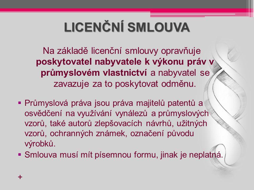 LICENČNÍ SMLOUVA Na základě licenční smlouvy opravňuje poskytovatel nabyvatele k výkonu práv v průmyslovém vlastnictví a nabyvatel se zavazuje za to p
