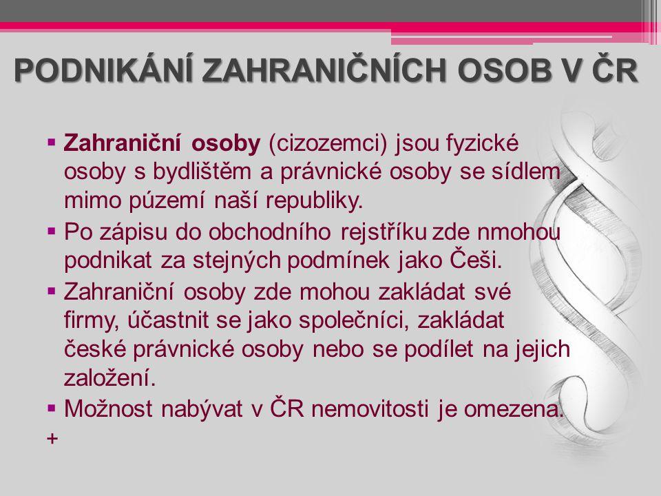 PODNIKÁNÍ ZAHRANIČNÍCH OSOB V ČR  Zahraniční osoby (cizozemci) jsou fyzické osoby s bydlištěm a právnické osoby se sídlem mimo púzemí naší republiky.