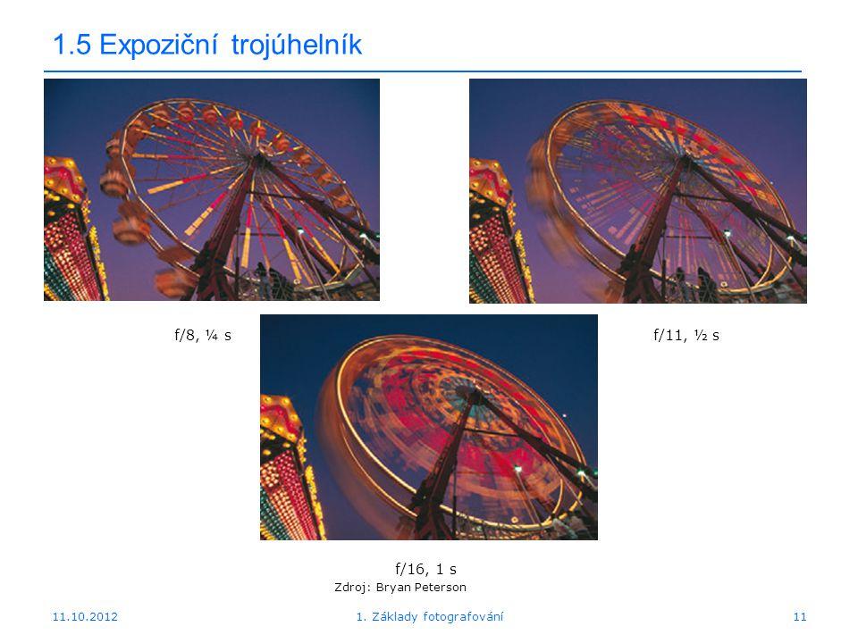 11.10.20121. Základy fotografování11 1.5 Expoziční trojúhelník f/16, 1 s Zdroj: Bryan Peterson f/8, ¼ sf/11, ½ s
