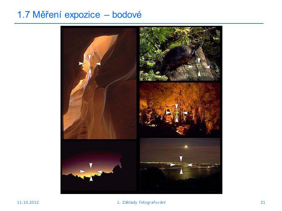 11.10.20121. Základy fotografování21 1.7 Měření expozice – bodové