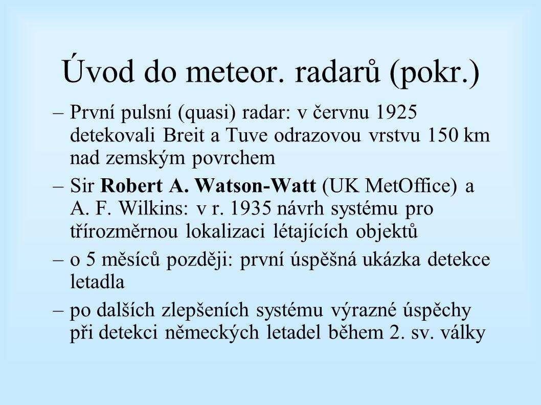 Úvod do meteor. radarů Radar – RAdio Detection And Ranging Historie –Zřejmě první zmínka o konceptu radaru: Nikola Tesla (1900) –První praktická ukázk