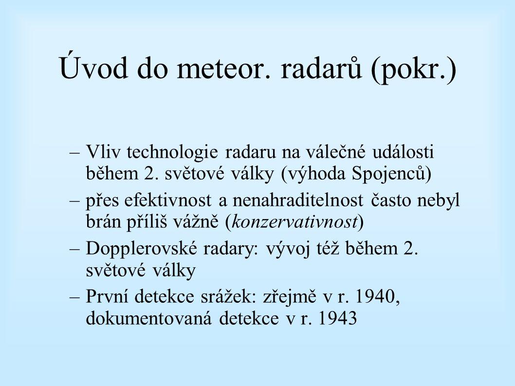 Úvod do meteor. radarů (pokr.) –v 30. letech podobné snahy i v jiných zemích (USA, Německo, Itálie, Japonsko, Francie, Nizozemí, Maďarsko) –USA: duben