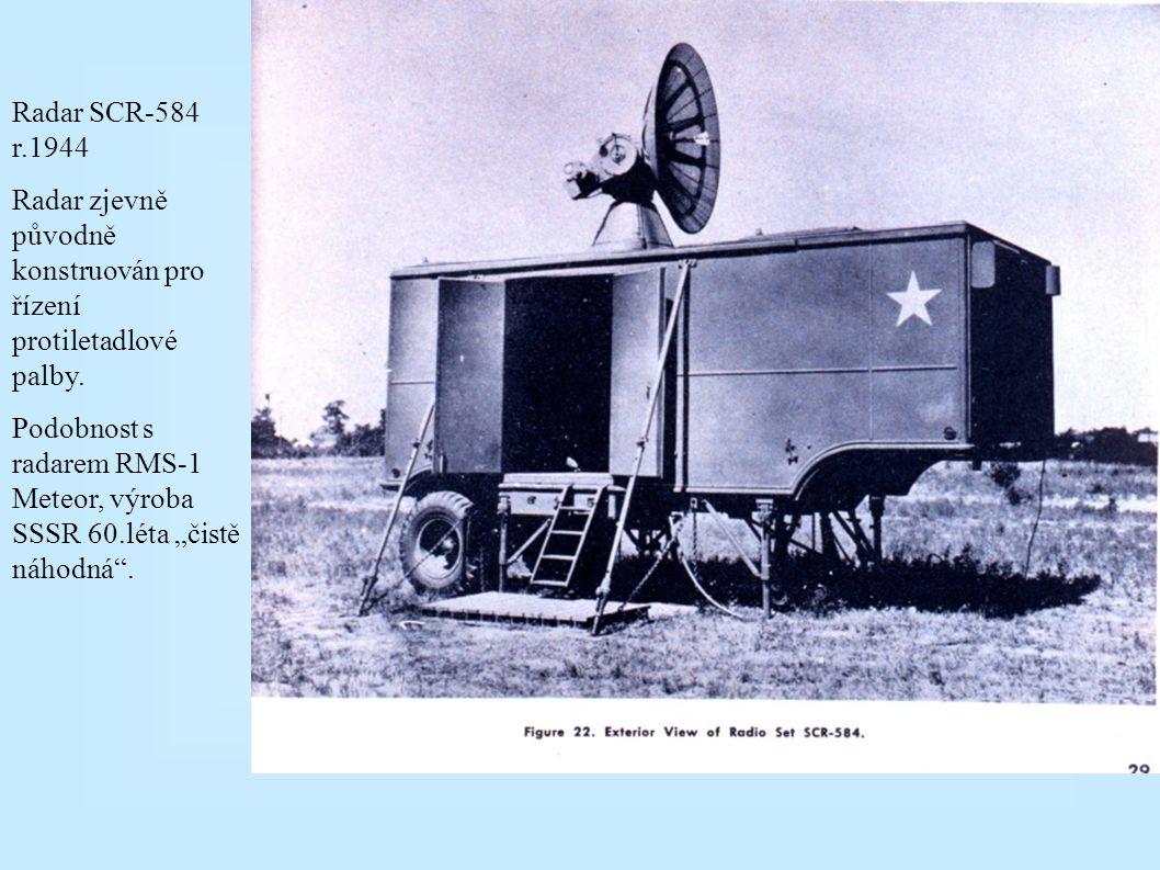 Radar AN/TPL-1 původně konstruován pro řízení vyhledávacích reflektorů (dosah 55 km), r. 1944; později využit i pro sledování bouřek a výšková balonov
