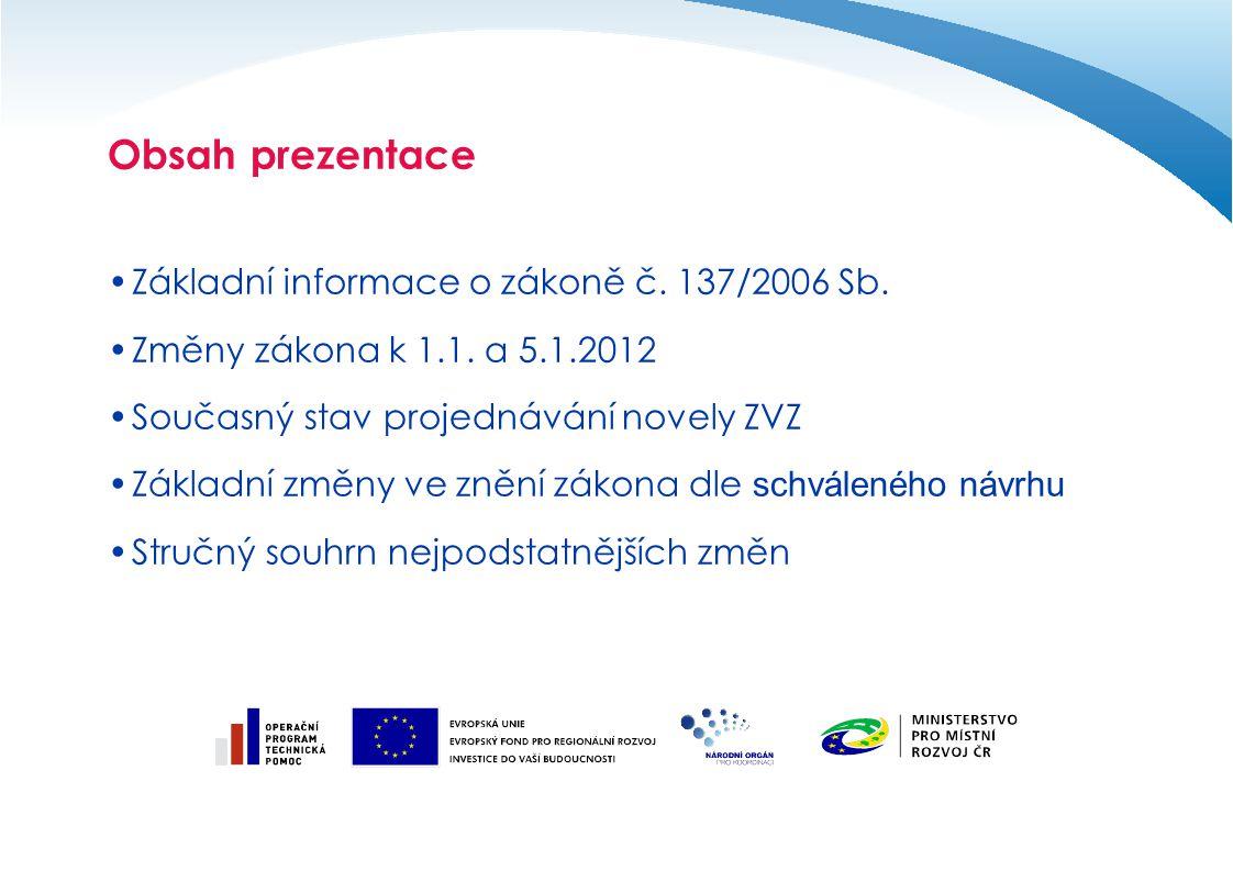 Obsah prezentace Základní informace o zákoně č. 137/2006 Sb.