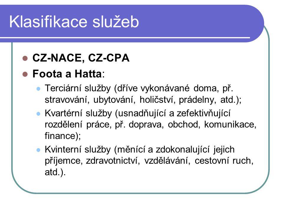 Klasifikace služeb CZ-NACE, CZ-CPA Foota a Hatta: Terciární služby (dříve vykonávané doma, př. stravování, ubytování, holičství, prádelny, atd.); Kvar