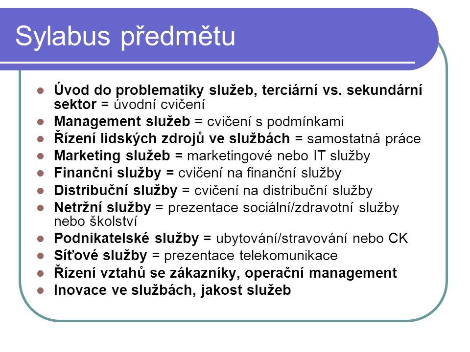 Sylabus předmětu Úvod do problematiky služeb, terciární vs. sekundární sektor = úvodní cvičení Management služeb = cvičení s podmínkami Řízení lidskýc