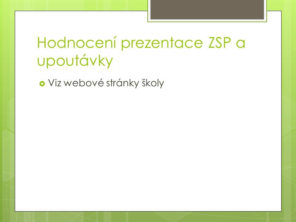 Hodnocení prezentace ZSP a upoutávky  Viz webové stránky školy