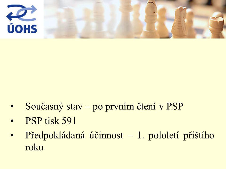 Současný stav – po prvním čtení v PSP PSP tisk 591 Předpokládaná účinnost – 1.