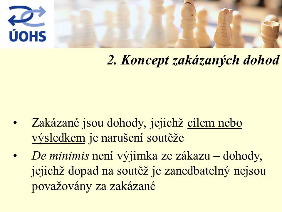 2. Koncept zakázaných dohod Zakázané jsou dohody, jejichž cílem nebo výsledkem je narušení soutěže De minimis není výjimka ze zákazu – dohody, jejichž