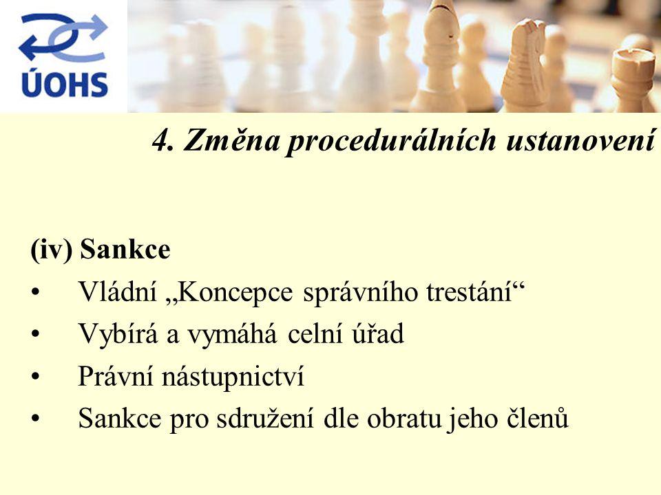 """4. Změna procedurálních ustanovení (iv) Sankce Vládní """"Koncepce správního trestání"""" Vybírá a vymáhá celní úřad Právní nástupnictví Sankce pro sdružení"""