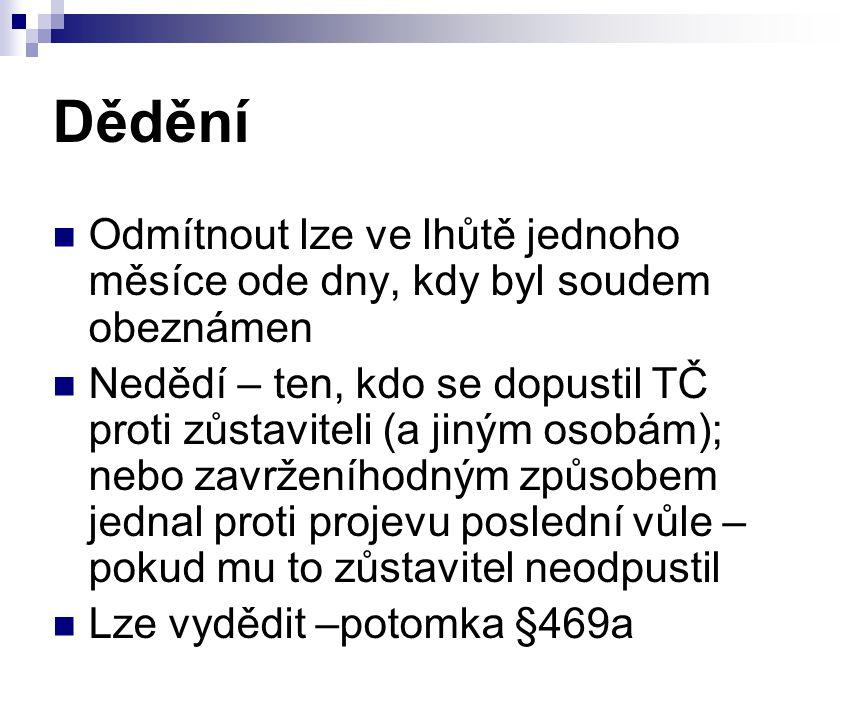 Dědění Odmítnout lze ve lhůtě jednoho měsíce ode dny, kdy byl soudem obeznámen Nedědí – ten, kdo se dopustil TČ proti zůstaviteli (a jiným osobám); ne