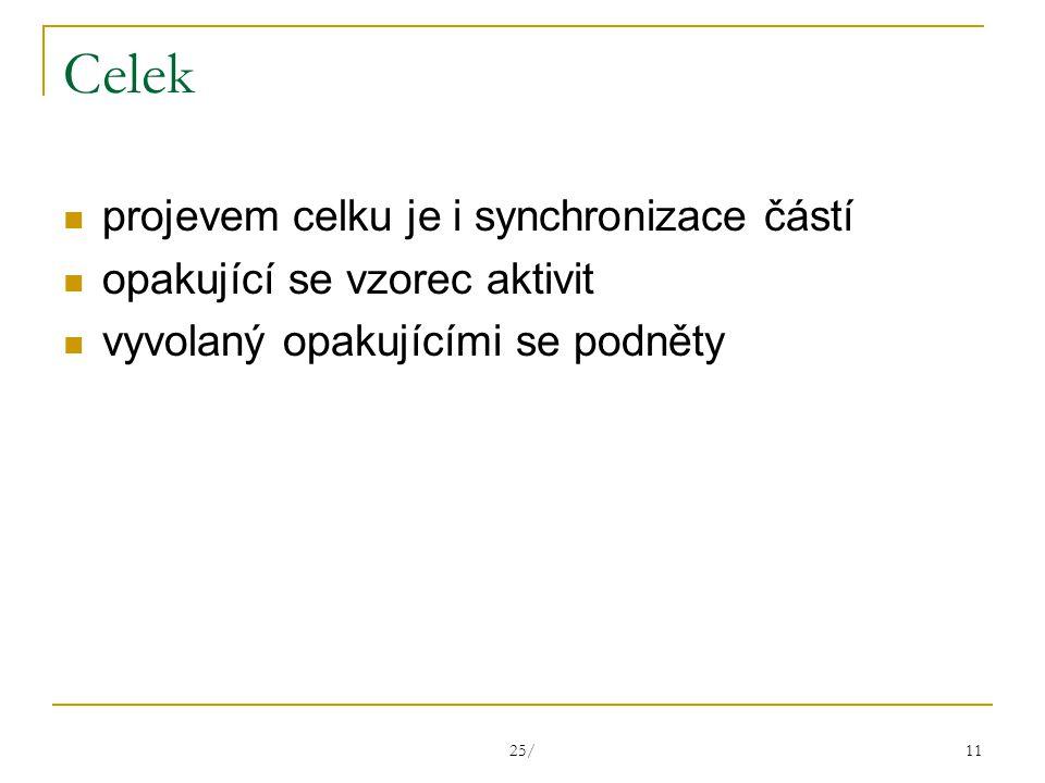 25/ 11 Celek projevem celku je i synchronizace částí opakující se vzorec aktivit vyvolaný opakujícími se podněty